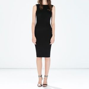 Zara Woman Boat Neck Little Black Dress